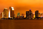Dark Night Rises Prints - San Diego Skyline at Night Print by Paul Velgos