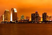 San Diego Skyline At Night Print by Paul Velgos