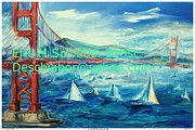 Twilight Drawings - San Francisco Golden Gate Bridge by Eric  Schiabor
