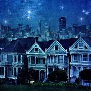 Alamo Square Framed Prints - San Francisco Night Framed Print by Jill Battaglia
