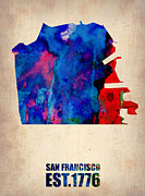 Modern Poster Framed Prints - San Francisco Watercolor Map Framed Print by Irina  March