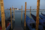 San Giorgio Maggiore Church And Gondolas At Dusk Print by Sami Sarkis