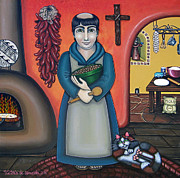 Kitchen Saint Posters - San Pascuals Kitchen Poster by Victoria De Almeida