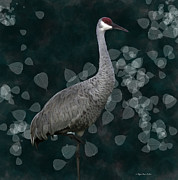 Sandhill Crane On Leaves Print by Megan Dirsa-DuBois