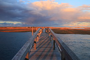 Sandwich Framed Prints - Sandwich Boardwalk Sunset Cape Cod Framed Print by John Burk