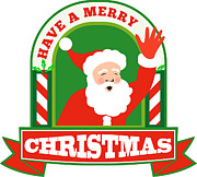 Saint Digital Art - Santa Claus Father Christmas Retro by Aloysius Patrimonio