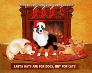 Puppies Digital Art Metal Prints - Santa Hats Metal Print by Sydne Archambault
