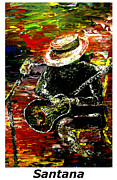 Guitarists Paintings - Santana  by Mark Moore