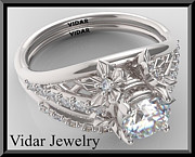 14k Jewelry - Sapphire And Diamond 14k Flower Wedding Ring And Engagement Ring Set by Roi Avidar