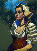 Costume Pastels Metal Prints - Sardinian Woman Metal Print by Ellen Dreibelbis