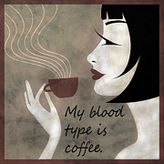 Brunette Mixed Media Prints - Sassy Blood Type Print by Angelina Vick
