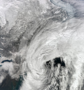 Snowmageddon Prints - Satellite View Of A Large Noreaster Print by Stocktrek Images