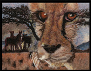 Lion Tapestries - Textiles Framed Prints - Savannah Framed Print by Dena Kotka