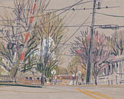 Train Drawings Originals - Sawyer Crossing by Donald Maier