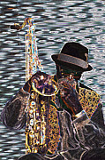 Yoshi Framed Prints - Sax Man Framed Print by Scott Lenhart