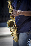 Playing Saxophone Art - Saxophone Player on Street by Carolyn Marshall