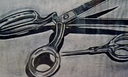 Scissors Drawings Framed Prints - Scissors Framed Print by Cecilia Stevens