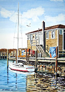Docked Sailboat Painting Framed Prints - Screamer Framed Print by Rick Mock