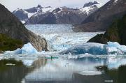 Sawyer Prints - Sea Kayaker Near S.sawyer Glacier Tracy Print by Michael DeYoung