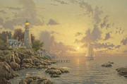 Lighthouse Sunset Prints - Sea of Tranquility Print by Thomas Kinkade