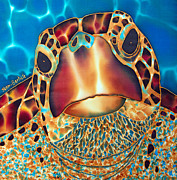 Sea Tapestries - Textiles Prints - Sea Turtle Print by Daniel Jean-Baptiste