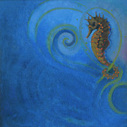 Jane Wilcoxson Art Painting Prints - Seahorse in the Weeds Print by Jane Wilcoxson