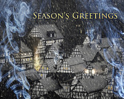 Chimneys Digital Art Posters - Seasons Greetings Poster by Edmund Nagele
