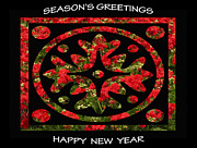 Red Geraniums Digital Art Posters - Seasons Greetings  Happy New Year Greeting Card Poster Poster by Carol F Austin