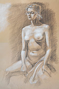 Figurative Drawing Framed Prints - Seated Model Drawing  Framed Print by Irina Sztukowski