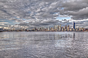 Alki Beach Posters - Seattle Cityscape In Clouds Poster by SC Heffner