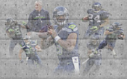 Seattle Greeting Cards Prints - Seattle Seahawks Team Print by Joe Hamilton