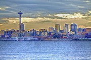 Alki Beach Prints - Seattle Skyline In Twilight Print by SC Heffner