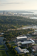 Husky Stadium Prints - Seattle skyline with aerial view of the newly renovated Husky St Print by Jim Corwin