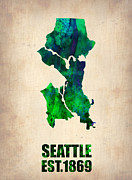 Seattle Digital Art Prints - Seattle Watercolor Map Print by Irina  March