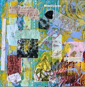 Fabric Mixed Media - Secret Language by Dawn Burke