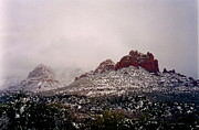 Ice On Branch Framed Prints - Sedona Snowstorm Framed Print by Denise Mazzocco