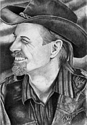 Cowboy Pencil Drawing Prints - Self Portrait Print by Bill Richards