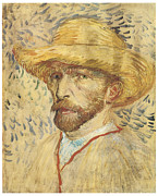 Self-portrait Prints - Self-Portrait with Straw Hat Print by Vincent Van Gogh