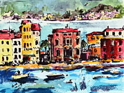 Red Ocean Mixed Media Posters - Sestri Levante Italy Bay of Silence Poster by Ginette Callaway