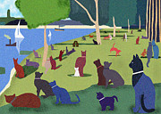 Jatte Digital Art Framed Prints - Seurats Cats Framed Print by Clare Higgins