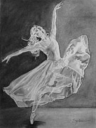 Ballet Drawings Posters - Shadow Dancer Poster by Sandra Goldner