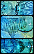 Glass Table Reflection Posters - Shadow Of Wine Glasses Poster by Werner Lehmann
