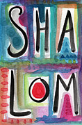 Judaica Mixed Media Prints - Shalom Print by Linda Woods