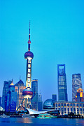 Pudong Prints - Shanghai Pudong cityscape at night Print by Fototrav Print