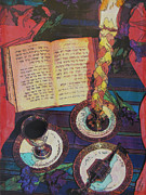 Judaica Mixed Media Prints - Shavuah Tov Print by Judith Rothenstein-Putzer