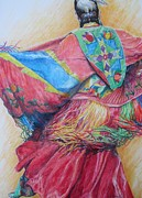 Native Americans Drawings Posters - Shawl Dancer Poster by Sharon Sorrels