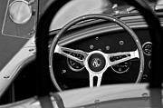 Black And White Photos Photos - Shelby AC Cobra Steering Wheel by Jill Reger