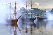 Tall Ship Art - Shelter harbor by Claude McCoy