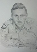 Sheriff Drawings Framed Prints - Sheriff Andy Taylor Framed Print by Don Cartier