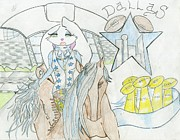 Dallas Drawings - Shes a Cowboy Fan by Bandele Gatson